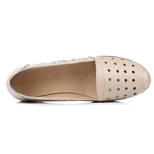 Cuero Mujer Guisantes Beige Planos Baile De Zapatos Sandalias wqpxHYUwt