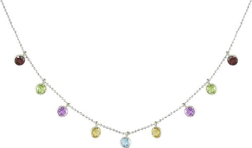 Sterling Silver Amethyst, Blue Topaz, and Citrine Necklace, 16""