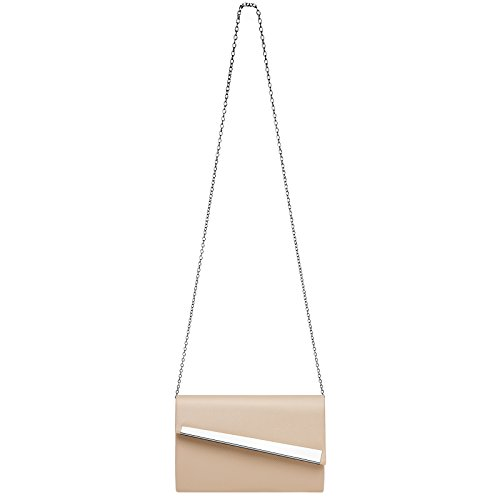 Clutch Flap with and Bag Diagonal for TA418 Elegant Nude Decor Women CASPAR Metal Modern Evening qgwFA4I