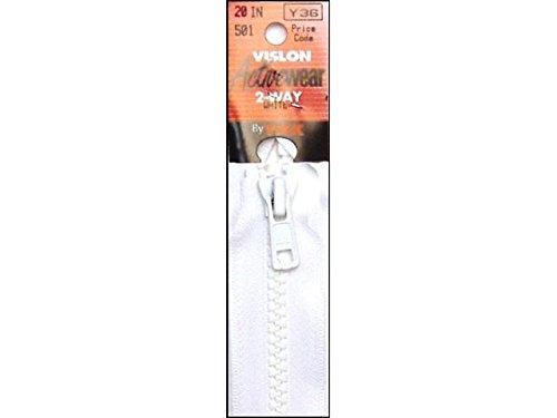 "YKK Vislon 1-Way Separating Zipper, 20"", White"