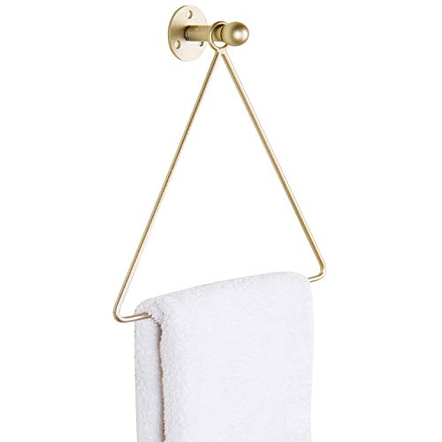 MyGift Wall Mounted Brass-Tone Metal Triangle Shape Bathroom Hand Towel Holder/Kitchen Towel Hanging - Bar Hanging Brass
