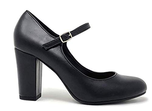 City Classiified Comfort Padded Insole Double Buckle Mary Jane Dress Pump, Chunky Block Heel (11 M US, Black Pu)