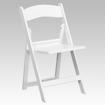 Slatted White Resin Plastic Heavy Duty 300-Pound Capacity Stackable Folding Event, Banquet, and Wedding Chairs (4-Pack)