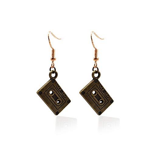 Retro Mix-tape Cassette Earrings Punk Rock Groovy Funky Jewelry Women Funny Earrings-antique gold]()