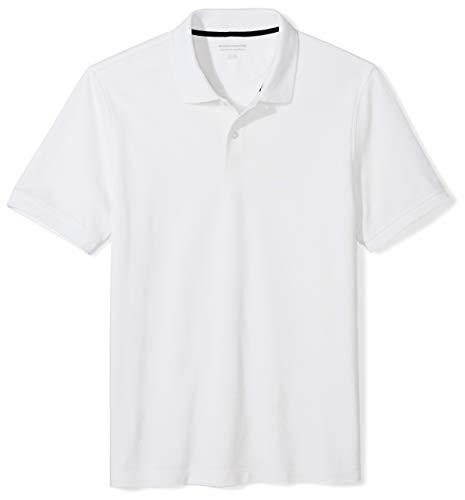 Amazon Essentials Men's Slim-Fit Cotton Pique Polo Shirt, White, Large