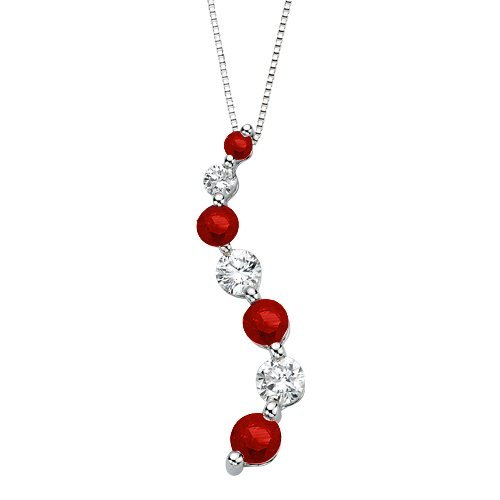 Diamond Journey Curve Necklace (14K White Gold 1/10 ct. Diamond with Alternating 1/4 ct. Ruby