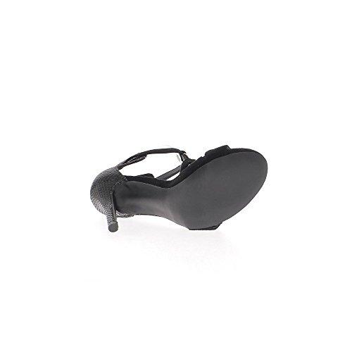 Aspetto nero sandali coccodrillo pelle e pelle scamosciata per fine tacco 11cm