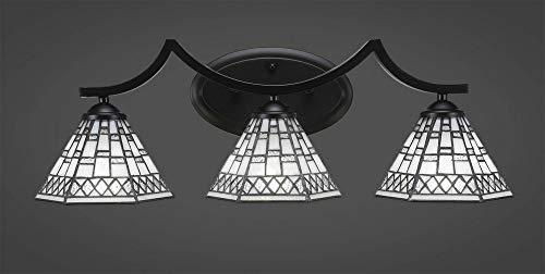 "Toltec Lighting Zilo 3 Light Bath Bar with 7"" Pewter Tiffany Glass"