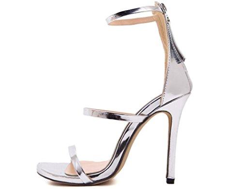 Scarpe YCMDM donne romane dei sandali tacco alto Oro Argento nero nudo 39 36 35 38 40 37 , silver , 37