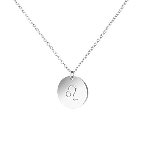 MEMGIFT Leo Constellation Necklace Zodiac Sign Stainless Steel Engraved Disc Jewelry Gifts for Women