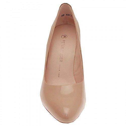 Peter Kaiser Celina Block Heel Court Shoe Beige Patent