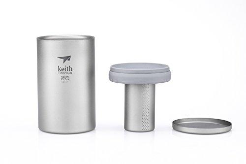 Keith Titanium Ti3521 Double-Wall Mug with Tea Infuser – 15.2 fl oz (Gray)