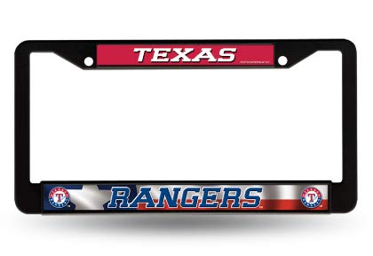 Texas Rangers MLB Black Chrome (Metal) License Plate Frame ()