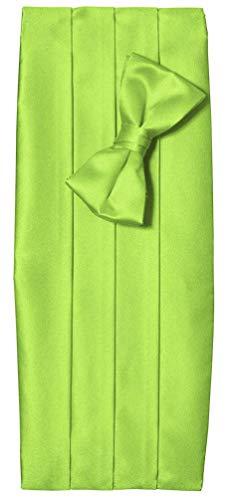 Tuxgear Tuxedo Cummerbund with Matching Bow Tie Set, Men's, Lime - Green Cummerbund Set Silk