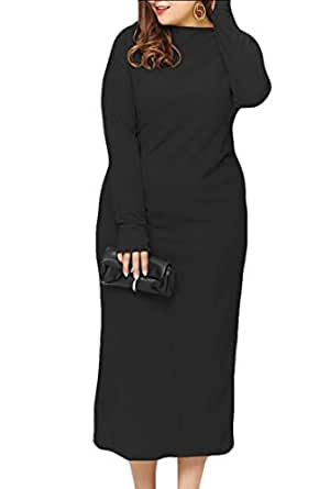 GAGA Womens Winter Long Sleeve Dress Crew Neck Solid