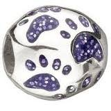 Miss Chamilia Purple RUFF & TUMBLE Paw Prints Sterling Silver Bead - Fits Miss Chamilia Necklace or Bracelet