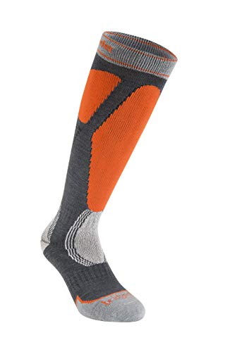 - Bridgedale Men's Easy on Ski - Merino Endurance Socks, Gunmetal/Orange, Medium