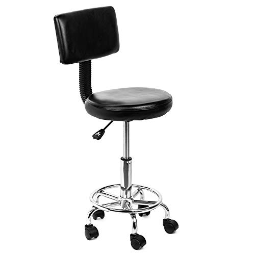 Display4top Black Adjustable Hydraulic Rolling Swivel Salon Stool with Comfy Back Rest,Adjustable Height, 5 Gravity Wheels, for Office Desk, Spa, Hair Salon, Home Kitchen,Medical Salon Artist