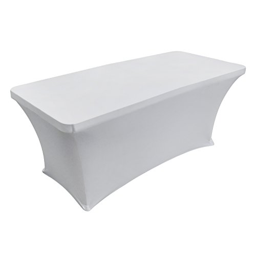 Houseables Folding Table Skirt, Fitted Tablecloth Cover, 6 ft, White, Rectangular Skirts, Polyester/Spandex, Elastic, Stretchable Linen, Stain & Wrinkle Proof, for Tables, Wedding, DJ, Events ()