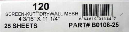 25 Pc 120 Grit Drywall Mesh Screen 4-3/16'' X 11-1/4'' JOHNSON Drywall Tools