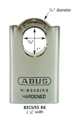 Abus 83CS/55-300 Zero-Bitted S2 Schlage 55Mm Rekeyable Padlock Solid Steel Chrome Plated Body, 1.4375""