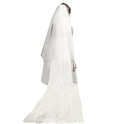 in Stock Two Layer Sheer Tulle Wedding Veils with Comb Long 2T Simple Bride Veil at Women's Clothing store