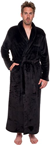 Ross Michaels Mens Long Robe - Full Length Big & Tall Bathrobe (Black, XXL)