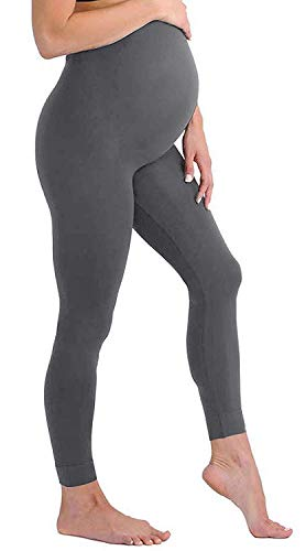 Maternity Leggings Seamless Solid Color Nursing Clothes Tights - 1, 2, and 3 Pack Gift Set - Stretch (Dark Grey 1 Pack, ONE SIZE FITS ALL (MATERNITY))