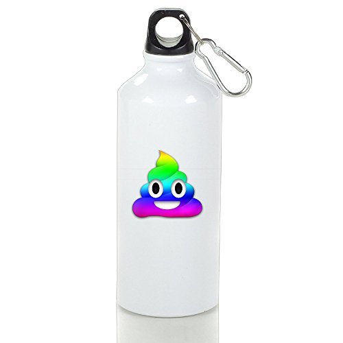 Emoji Poop Rainbow Flag Aluminum Vacuum Insulated Bottle White 600ml