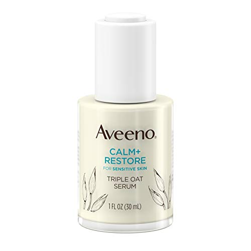 Aveeno Calm + Restore Triple Oat Hydrating Face Serum for Sensitive Skin, Gentle and Lightweight Facial Serum to Smooth and Fortify Skin, Hypoallergenic, Fragrance- and Paraben-Free, 1 fl. ounces