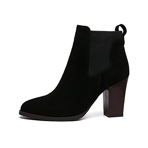 Band Toe Girls Elastic Boots Frosted Closed Black BalaMasa Heels Chunky d4IwqpYp