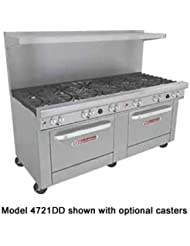 Southbend 4721AA 5L 72 Ultimate Restaurant Gas Range W 9 Standard Burners 2 Pyromax Burners Rear Left 2 Convection Ovens