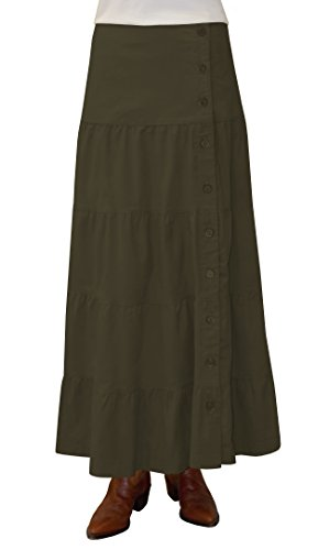 Baby'O Women's Long Ankle Length Tiered Corduroy Maxi Skirt (X-Small, Olive (Tiered Prairie Skirt)