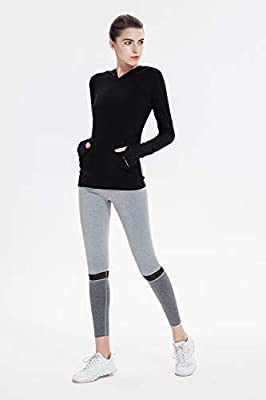 Sport Hoodie for Women Athletic Casual Pullover Thumb Hole Top with Kangaroo Pocket