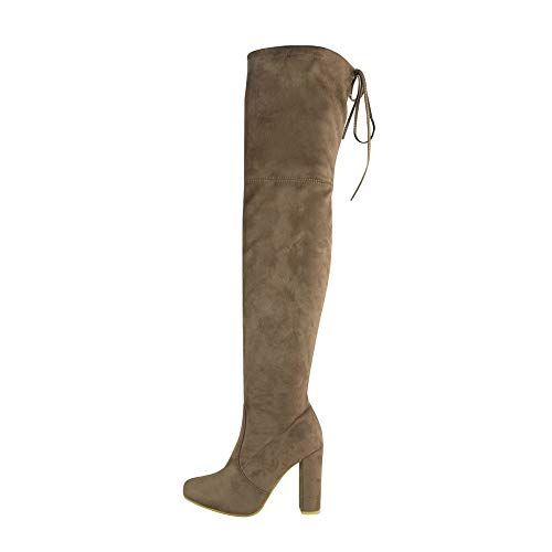 Extra Tie Heel SoulShoes Block Suede Back Long The Knee Faux Mocha High Over Womens Boots nngqFpP
