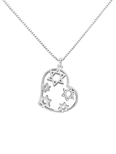 Bat Mitzvah Gift Jewish Stars Necklace + Heart in Sterling Silver + Women | Alef Bet by Paula