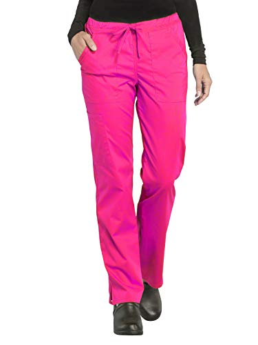 (Cherokee WW Professionals WW160 Mid Rise Straight Leg Drawstring Pant Electric Pink L)