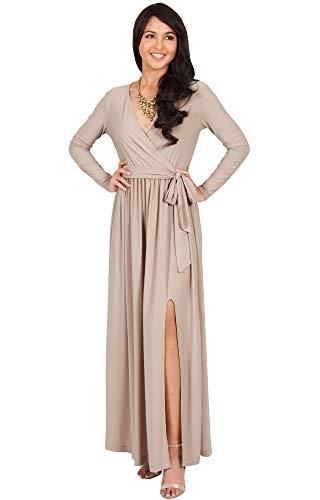 KOH KOH Plus Size Womens Long Sleeve Sleeves V-Neck Slit Split Cocktail Evening Elegant Wrap Winter Fall Wedding Guest Abaya Muslim Gown Gowns Maxi Dress Dresses, Tan Light Brown XL 14-16 (2)
