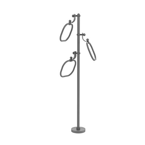 Allied Brass TS-83T-GYM Stand with 9 Inch Oval Towel Rings, Matte Gray (Oval Ring Allied Towel)