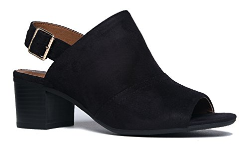 Skye Strappy Zip Up Sandal Heel, Black IMSU, 5.5 B(M) US (Buckle Sandals Mule)