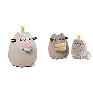 "GUND Pusheen Snackables Birthday Cupcake Plush Stuffed Animal, 10.5"" & Pusheen and Stormy Birthday Plush Stuffed Animals Collector, Gray, Set of 2"