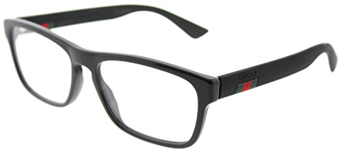 Gucci GG 0157O 002 Havana Plastic Square Eyeglasses - All Gucci Black