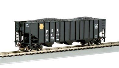 Bachmann Trains Pennsylvania Yellow Ball #180658 Bethlehem Steel 100 Ton Three-Bay Hopper-Ho Scale