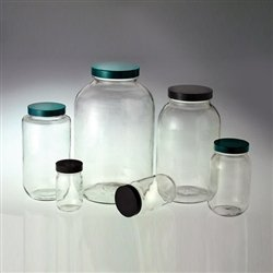 Boca ancha botellas de vidrio, 4 litros (128oz) vinilo con tapa, funda