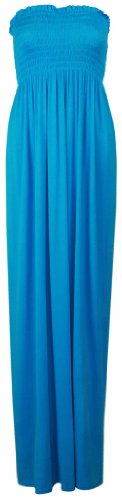New Maxi Abito spalline tubo l'estate Ladies Dress per con donna gonna da Turchese elasticizzato lungo jersey a in RRqZrHfxw