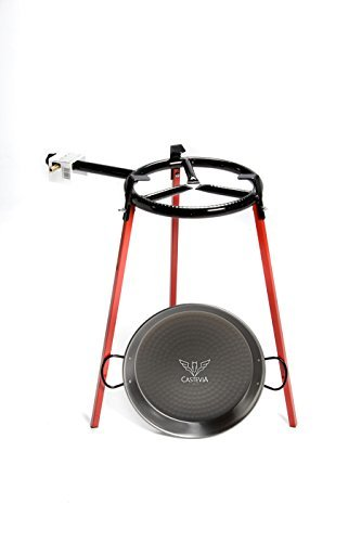 Castevia Complete EcoSet Polished Steel Paella Pan 15-Inch 38cm up to 8 servings + Paella Gas ()