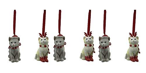 Comfy Hour Set 6 Cats Wearing Scarf Santa Cap Reindeer Antler Headwear Christmas Ornaments, Xmas Party Décor