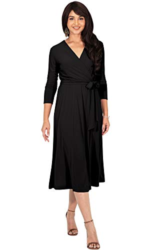KOH KOH Plus Size Womens V-Neck 3/4 Long Sleeve Flowy Knee Length Fall Bow Wrap Modest Casual Simple Plain Loose Swing A-line Sun Day Work Office Midi Dress Dresses, Black - Jersey Wrap Black