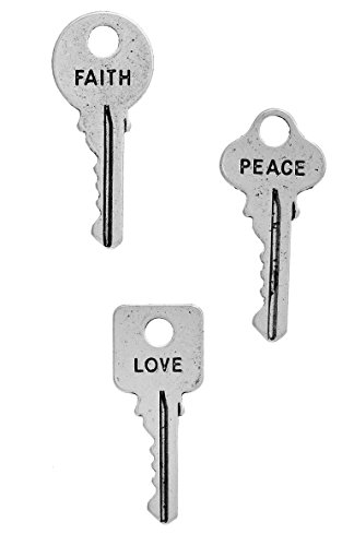 Faith Peace Love, Inspirational Message Key Charms (18 of each; 54 total), 1 inch, Silver Tone by JGFinds