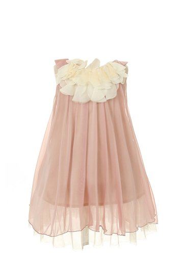 Kid's Dream Girl's Coral Lovely Silk Chiffon Girl Dress-coral-14